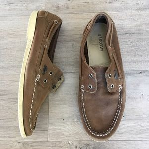 e34eb52ca Lacoste Shoes - LACOSTE ~ men s brown leather loafer boat shoe